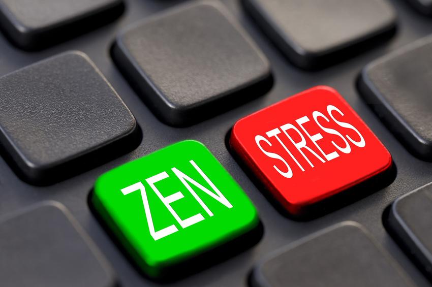 Clavier d'ordinateur noir, touches zen stress